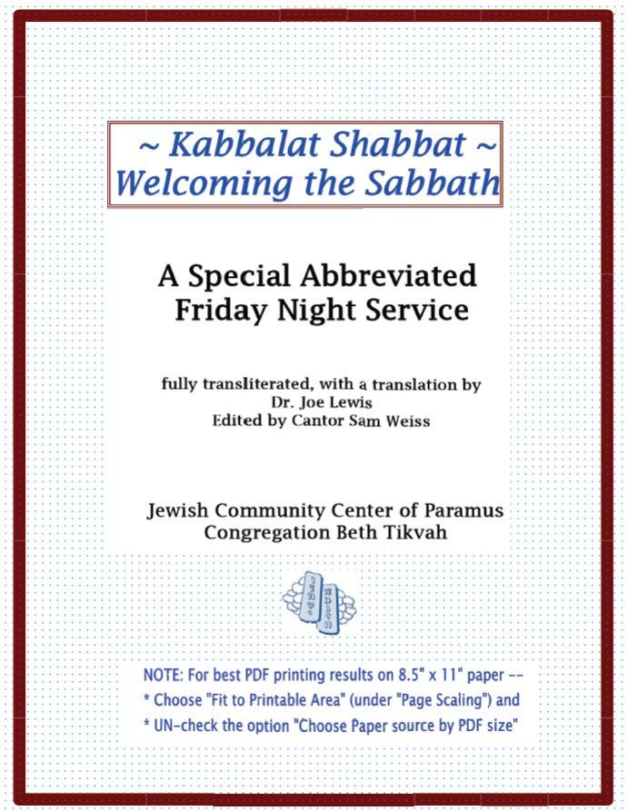 Special Kabbalat Shabbat Service