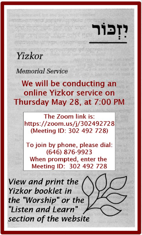 Special Yizkor Service – Click flyer to view 5 pp service