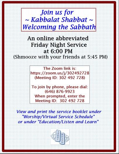Virtual Kabbalat Shabbat